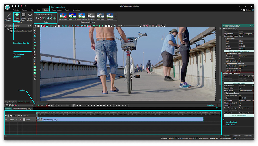 VSDC Free Video Editor interface