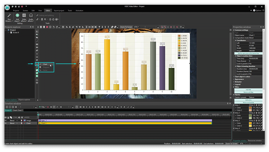 How to add charts to your video using VSDC Free Video Editor
