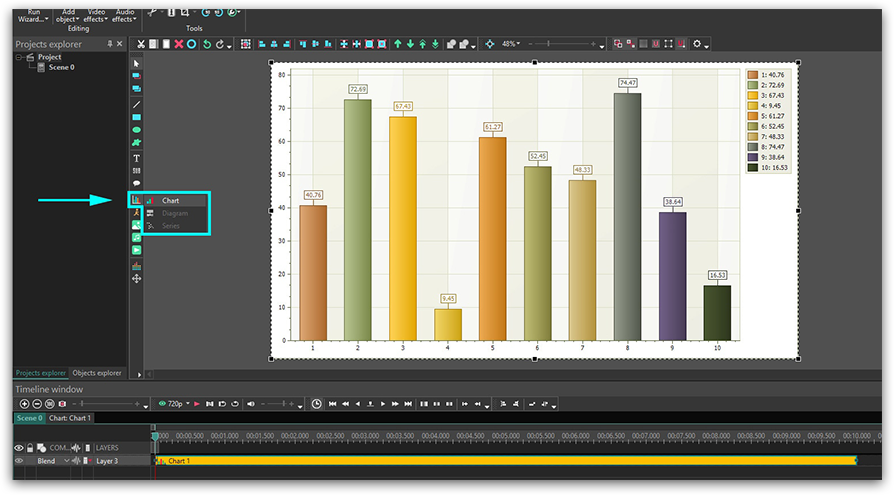 Adding a chart to a scene in VSDC Free Video Editor