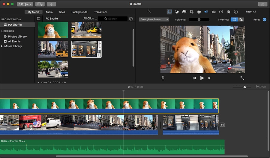 iMovie is a default video editor with a chroma key feature for Apple devices