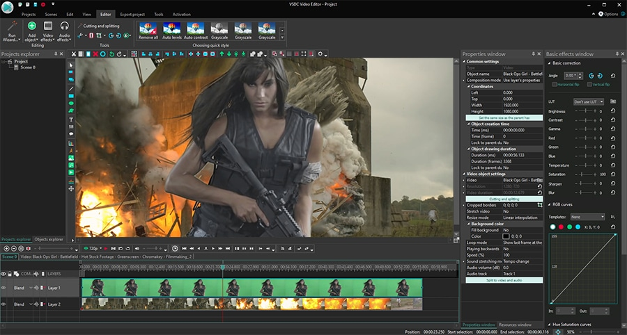 VSDC is free chroma key software for Windows
