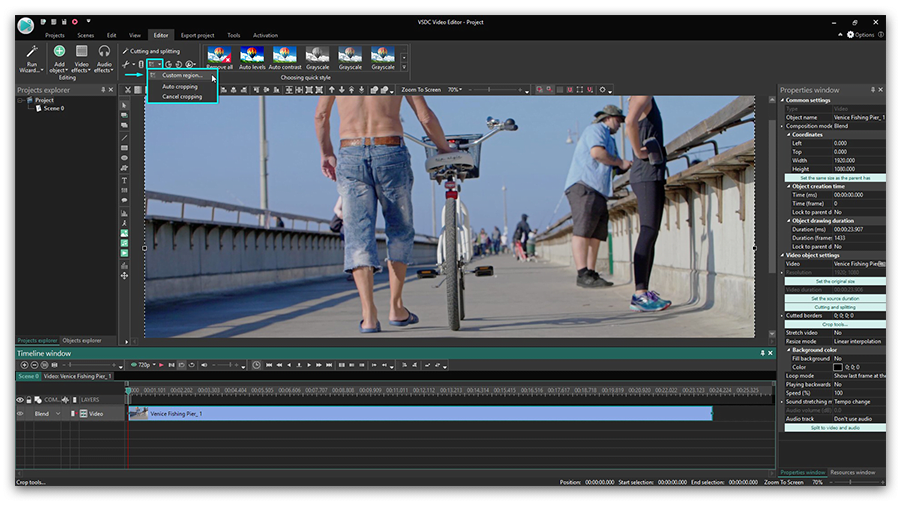 How to crop video borders using VSDC Free Video Editor