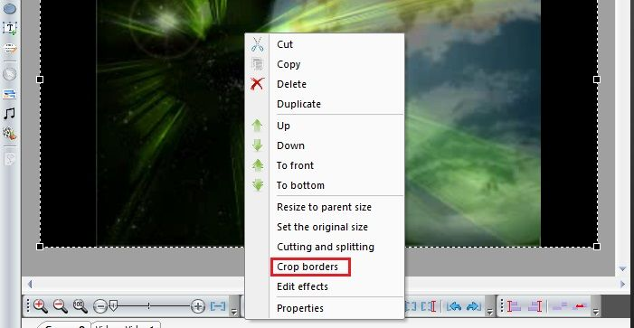 Choosing cropping option in the object menu
