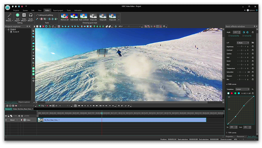 How to edit 4K video: color correction features in VSDC
