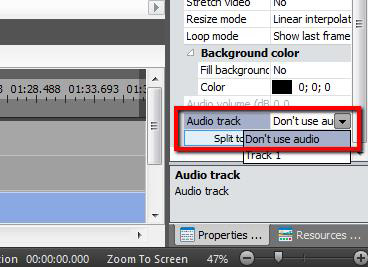 Turn off audio track