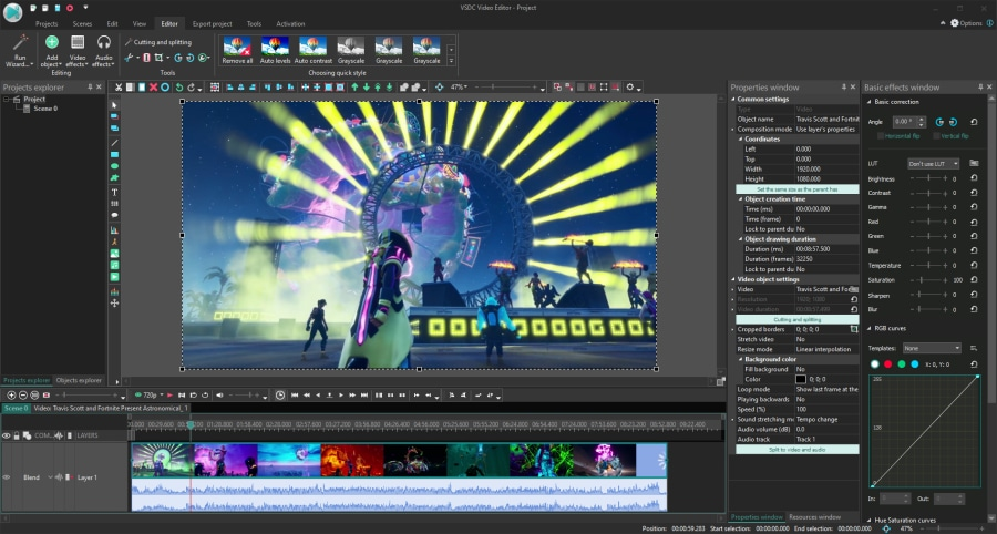 VSDC is a free lightweight gameplay video editor