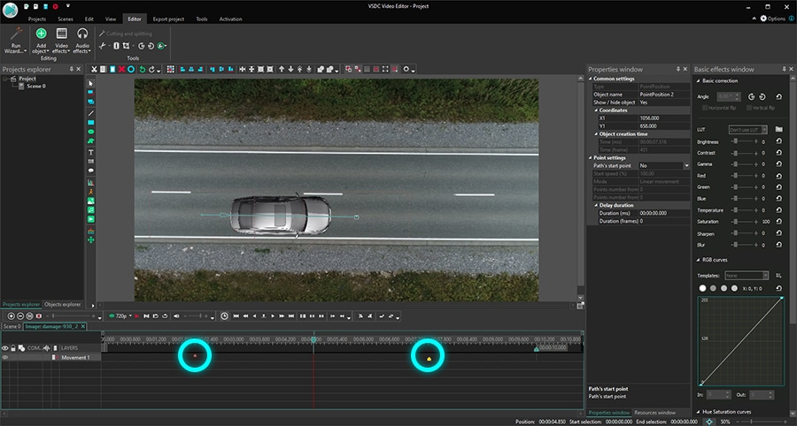 How to make an image move in a video faster by shortening the duration of the Movement effect