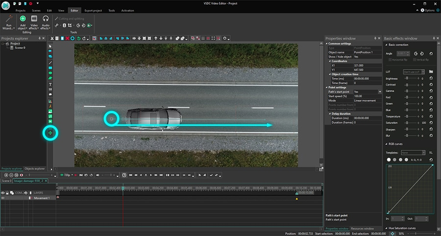 How to use the Movement feature in VSDC Free Video Editor
