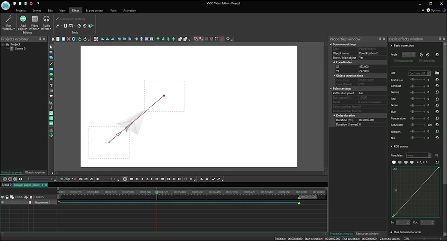 A 2-point object movement trajectory in a video available in the free version of VSDC