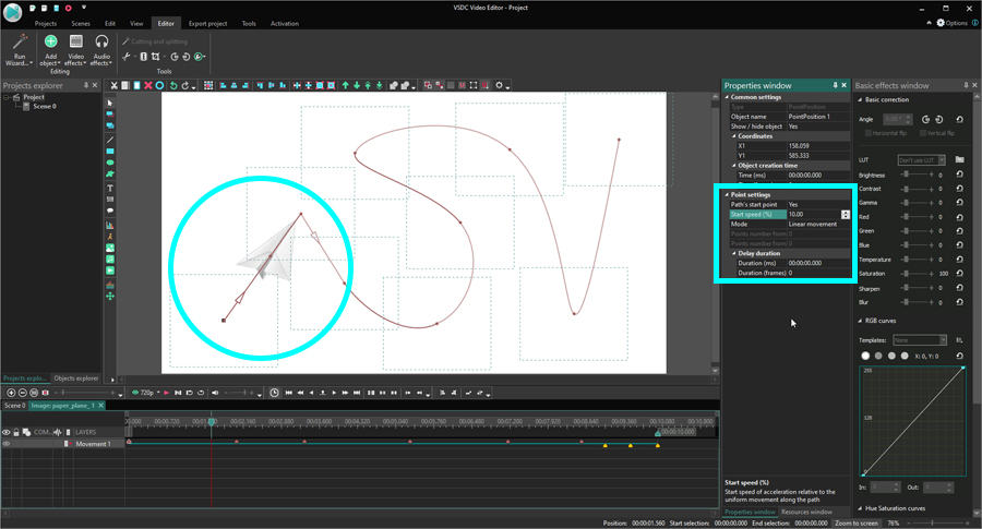 How to change object movement speed in a video