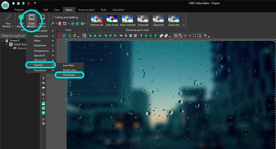 How to apply a raindrop video effect in VSDC