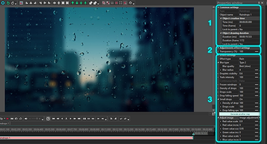 Raindrop effect settings available in VSDC Free Video Editor