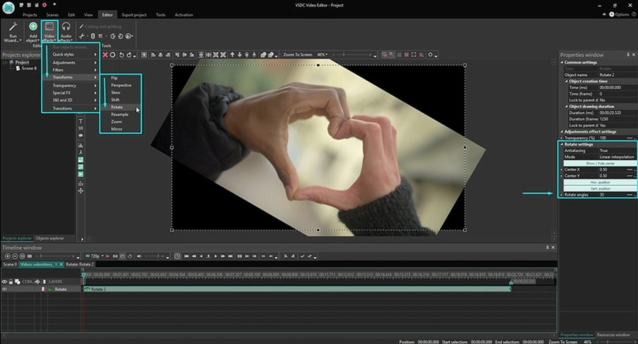 How to rotate a video in VSDC at a custom angle