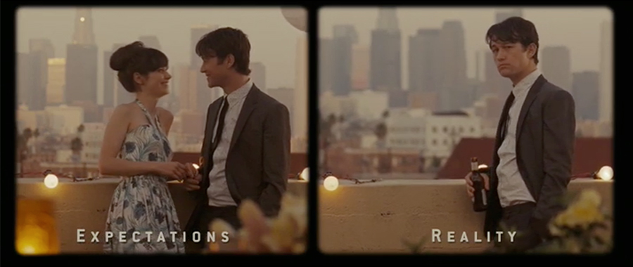 Split screen effect used in 500 Days of Summer to compare expectations vs reality