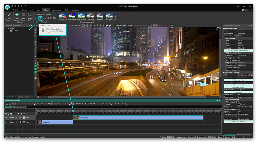 3 ways to quickly split a video file using VSDC Free Video