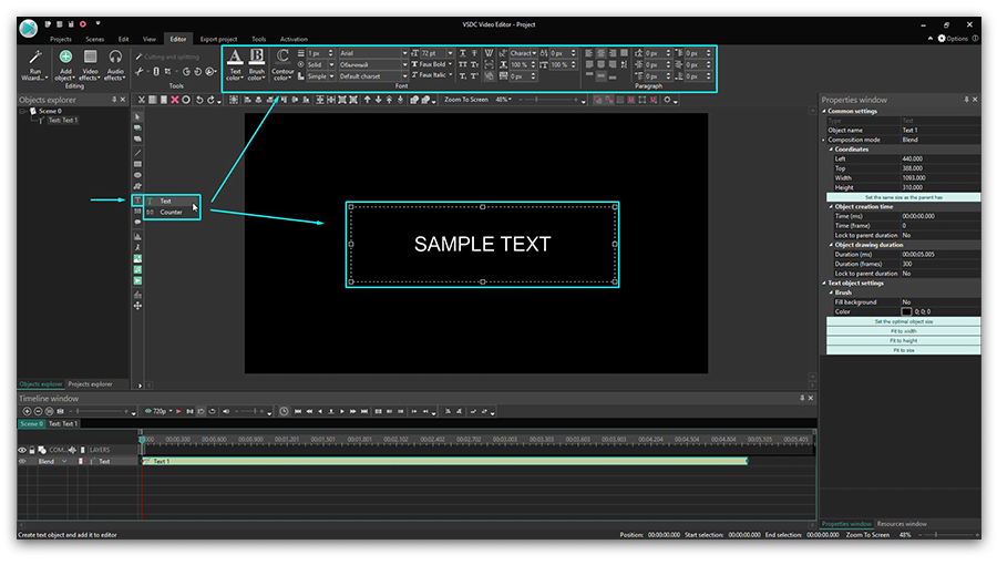 Use VSDC Free Video Editor to add text to your footage