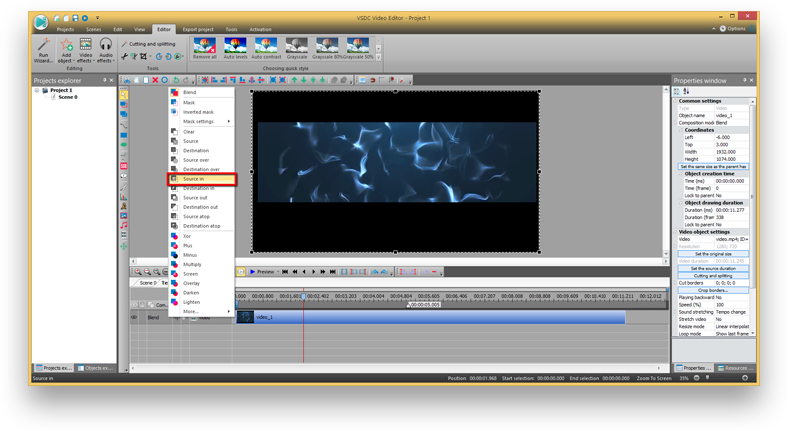 Vsdc free video software audio and video editing tools the second method enables you to make a video in text mask only in the pro version of vsdc video editor ccuart Images