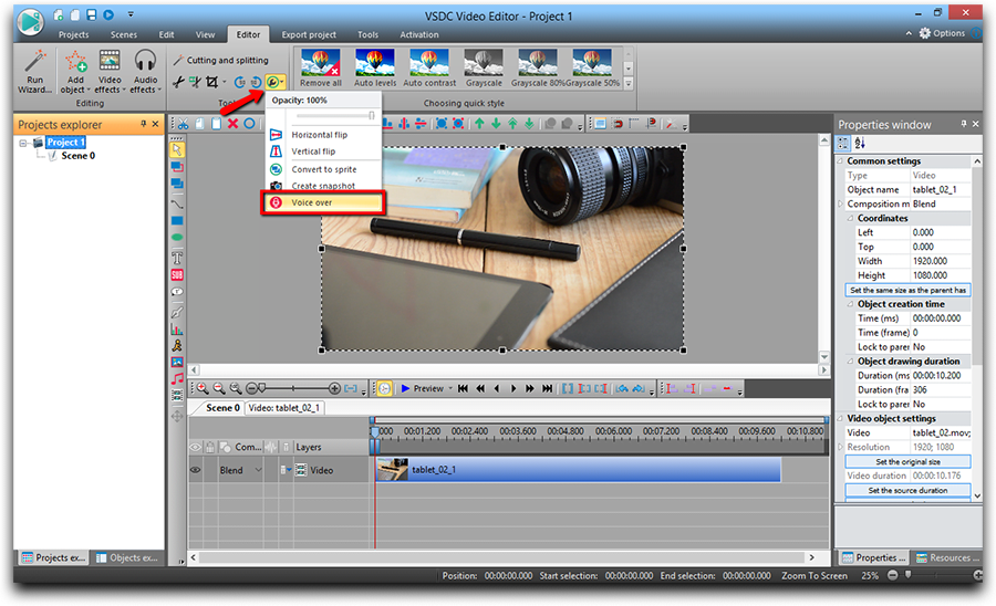 'Voice Over' can be found in the 'More Tool' menu on the panel above the scene