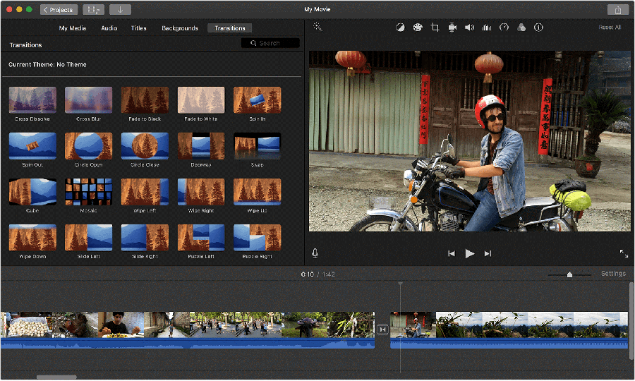 Apply transitions in iMovie