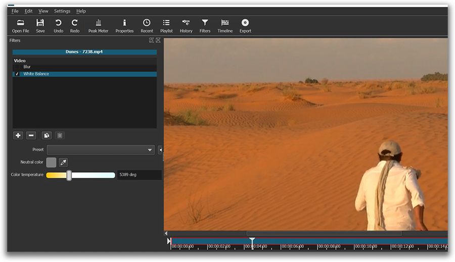 Shotcut video editor interface