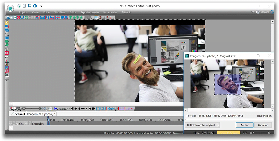 VSDC Free Video Editor cropping tool