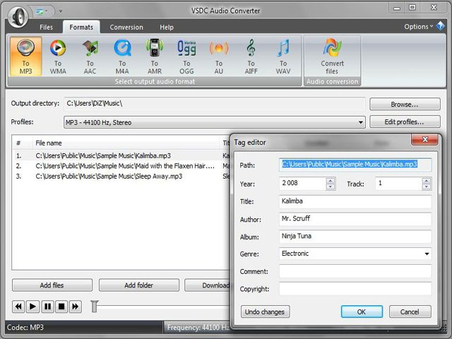 Convert audio with VSDC Free Audio Converter.