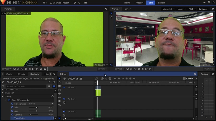 HitFilm Express chroma key allows you to remove green, blue, and red background from a video