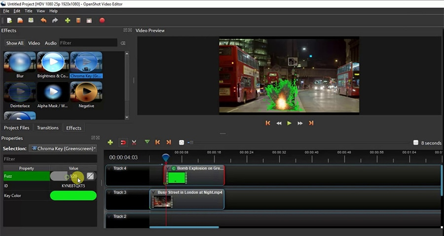 OpenShot brings a chroma key tool that allows you to manually pick a color to remove