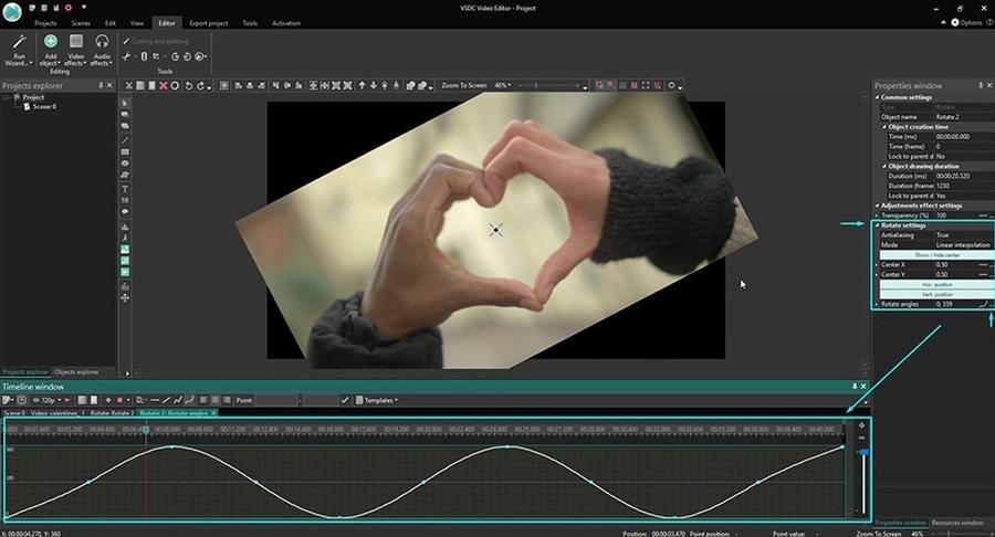 Как применить простой эффект вращения к видео